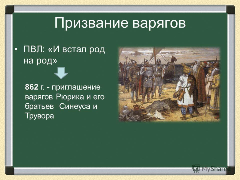 Призвание варягов ПВЛ: «И встал род на род» 862 г. - приглашение варягов Рюрика и его братьев Синеуса и Трувора