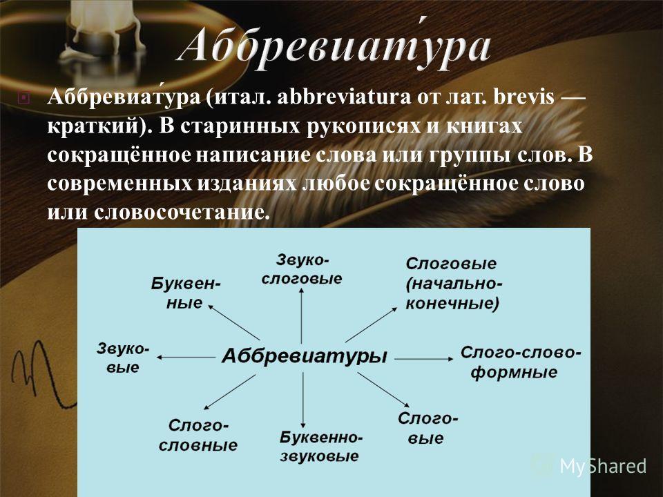 Аббревиат́ура (итал. abbreviatura от лат. brevis краткий). В старинных рукописях и книгах сокращённое написание слова или группы слов. В современных изданиях любое сокращённое слово или словосочетание.