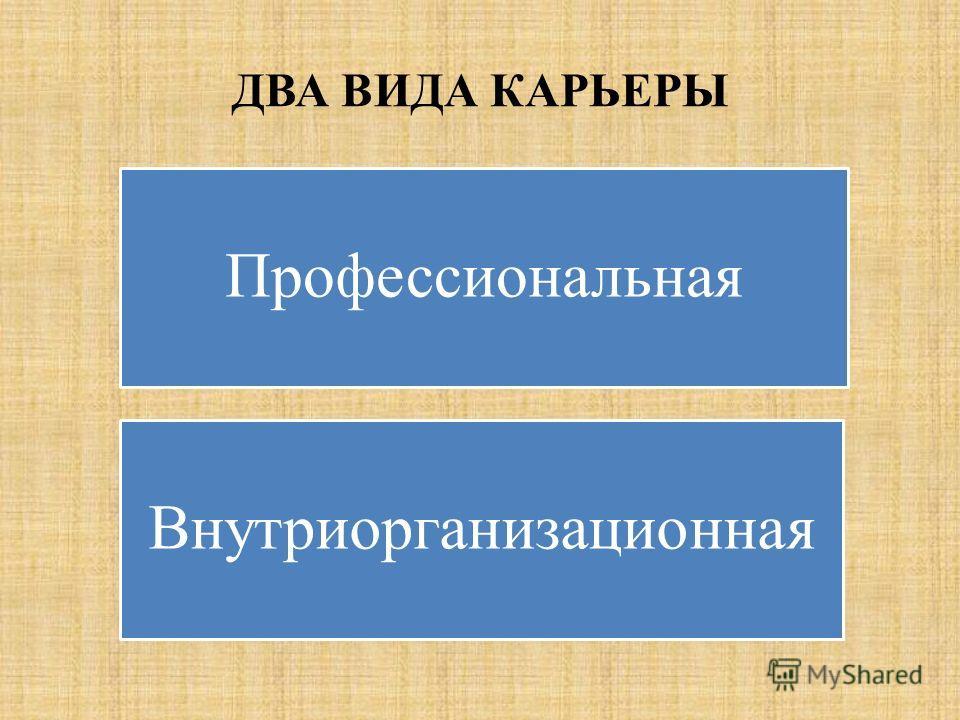 ДВА ВИДА КАРЬЕРЫ Профессиональная Внутриорганизационная