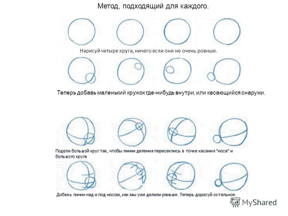 Метод, подходящий для каждого. Нарисуй четыре круга, ничего если они не очень ровные. Теперь добавь маленький кружок где-нибудь внутри, или касающийся снаружи.