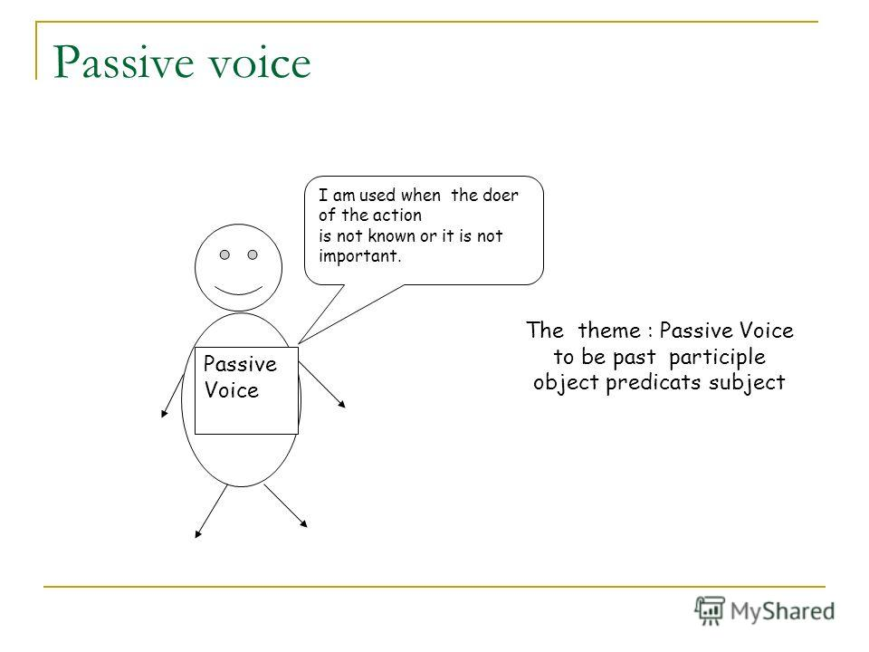 Passive voice Passive Voice I am used when the doer of the action is not known or it is not important. The theme : Passive Voice to be past participle object predicats subject