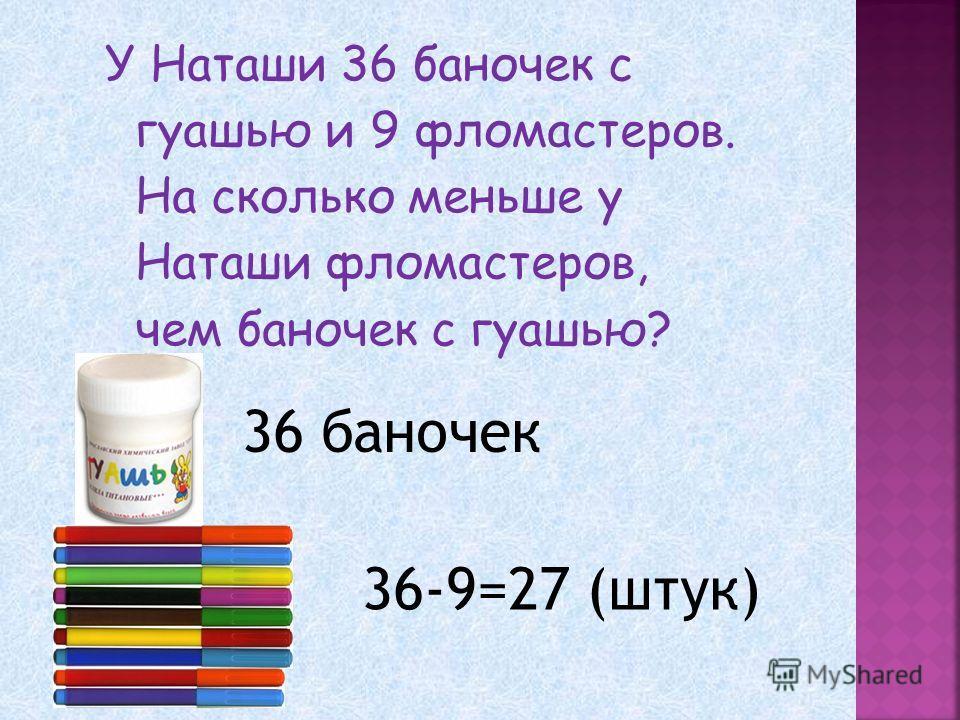 У Наташи 36 баночек с гуашью и 9 фломастеров. На сколько меньше у Наташи фломастеров, чем баночек с гуашью? 36 баночек 36-9=27 (штук)