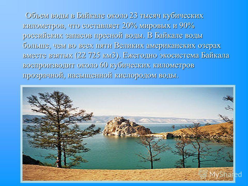 Объем воды в Байкале около 23 тысяч кубических километров, что составляет 20% мировых и 90% российских запасов пресной воды. В Байкале воды больше, чем во всех пяти Великих американских озерах вместе взятых (22 725 км3). Ежегодно экосистема Байкала в