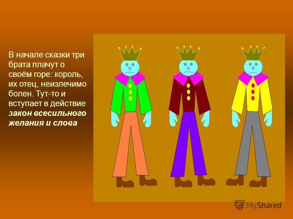 В начале сказки три брата плачут о своём горе: король, их отец, неизлечимо болен. Тут-то и вступает в действие закон всесильного желания и слова