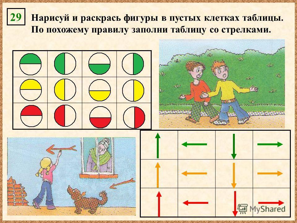 Нарисуй и раскрась фигуры в пустых клетках таблицы. По похожему правилу заполни таблицу со стрелками. 29