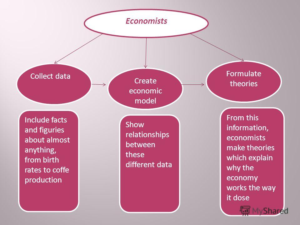 Economists Formulate theories Create economic model Collect data From this information, economists make theories which explain why the economy works the way it dose Show relationships between these different data Include facts and figuries about almo