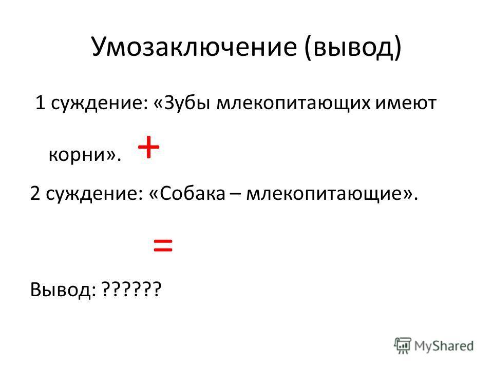 Умозаключение (вывод) 1 суждение: «Зубы млекопитающих имеют корни». + 2 суждение: «Собака – млекопитающие». = Вывод: ??????