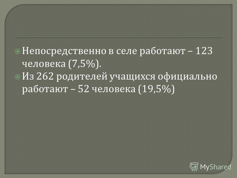 Непосредственно в селе работают – 123 человека (7,5%). Из 262 родителей учащихся официально работают – 52 человека (19,5%)