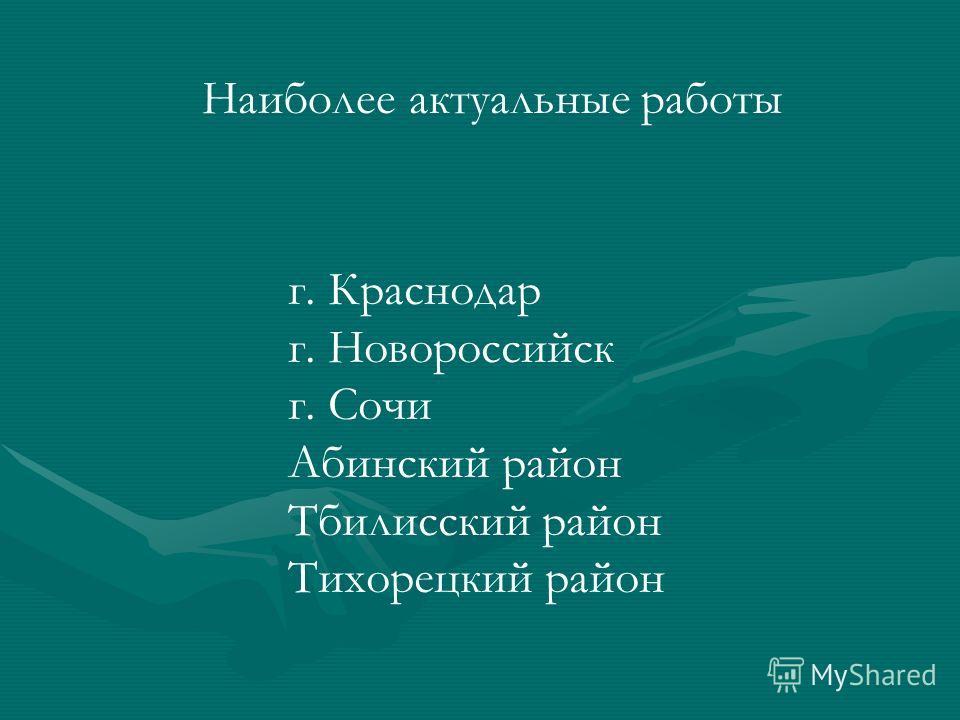 Наиболее актуальные работы г. Краснодар г. Новороссийск г. Сочи Абинский район Тбилисский район Тихорецкий район