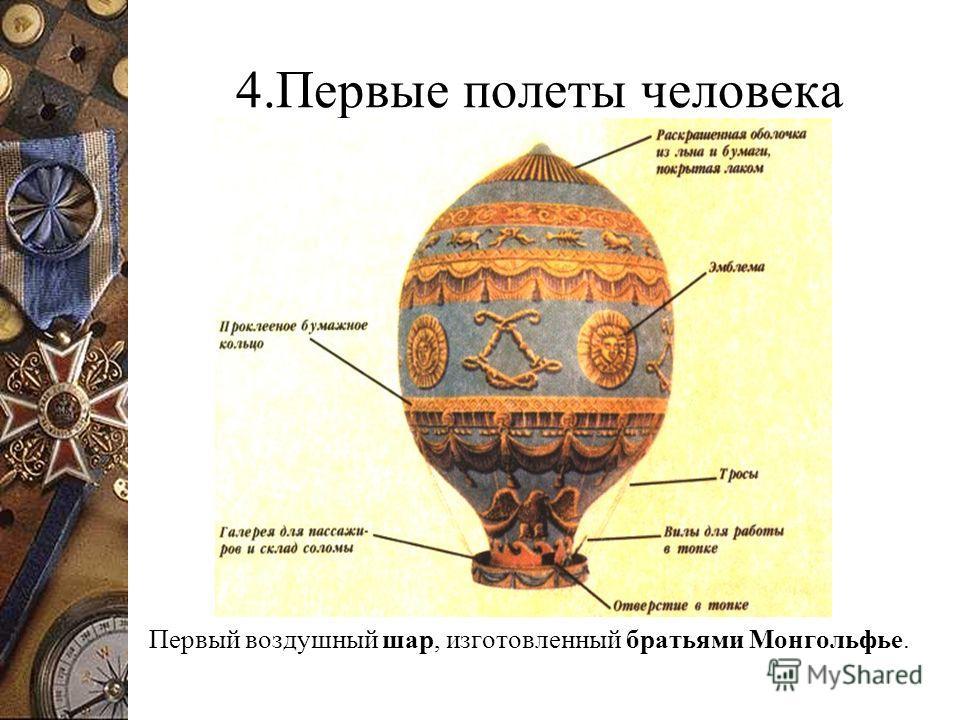 4.Первые полеты человека Первый воздушный шар, изготовленный братьями Монгольфье.