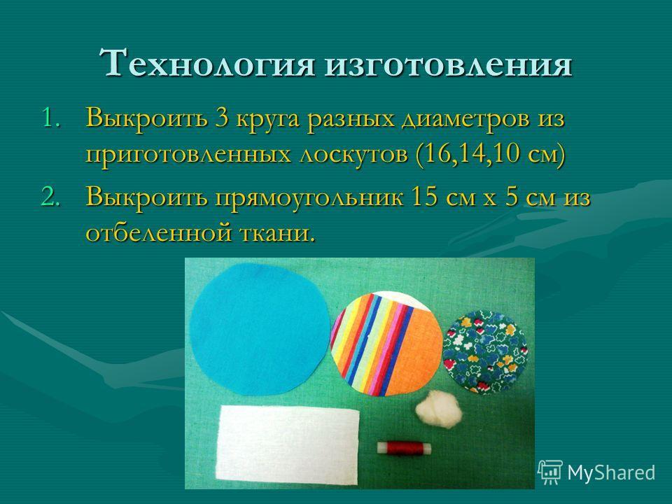 Технология изготовления 1.Выкроить 3 круга разных диаметров из приготовленных лоскутов (16,14,10 см) 2.Выкроить прямоугольник 15 см х 5 см из отбеленной ткани.