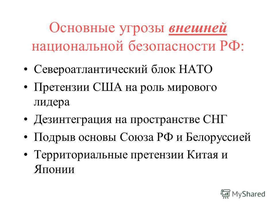 Основные угрозы внешней национальной безопасности РФ: Североатлантический блок НАТО Претензии США на роль мирового лидера Дезинтеграция на пространстве СНГ Подрыв основы Союза РФ и Белоруссией Территориальные претензии Китая и Японии