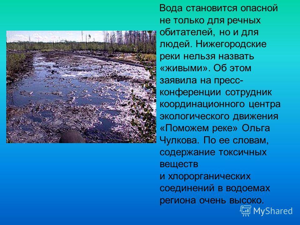 Вода становится опасной не только для речных обитателей, но и для людей. Нижегородские реки нельзя назвать «живыми». Об этом заявила на пресс- конференции сотрудник координационного центра экологического движения «Поможем реке» Ольга Чулкова. По ее с