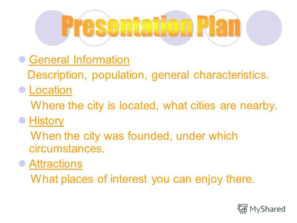 General Information Description, population, general characteristics. Location Where the city is located, what cities are nearby. History When the city was founded, under which circumstances. Attractions What places of interest you can enjoy there.