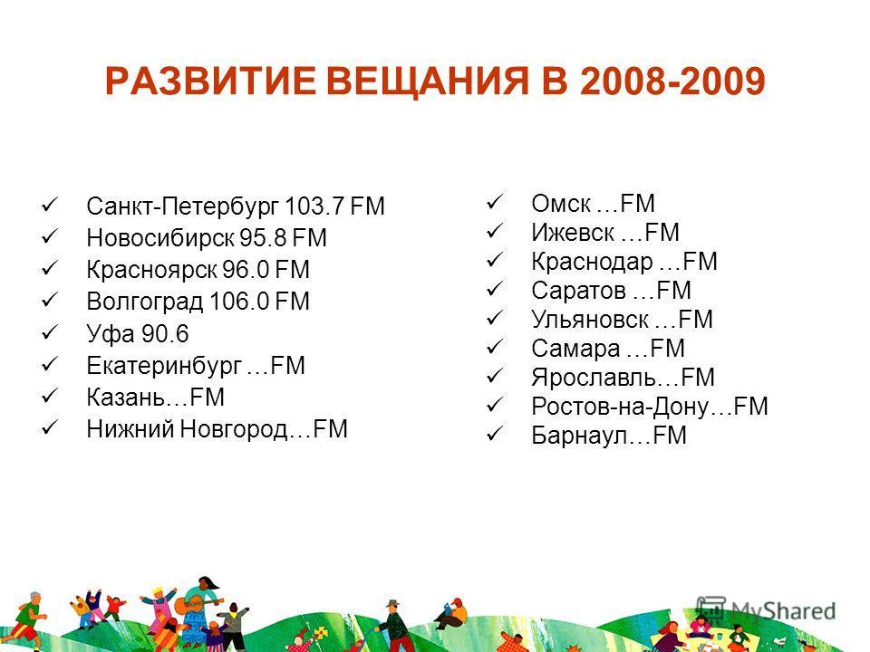 РАЗВИТИЕ ВЕЩАНИЯ В 2008-2009 Санкт-Петербург 103.7 FM Новосибирск 95.8 FM Красноярск 96.0 FM Волгоград 106.0 FM Уфа 90.6 Екатеринбург …FM Казань…FM Нижний Новгород…FM Омск …FM Ижевск …FM Краснодар …FM Саратов …FM Ульяновск …FM Самара …FM Ярославль…FM
