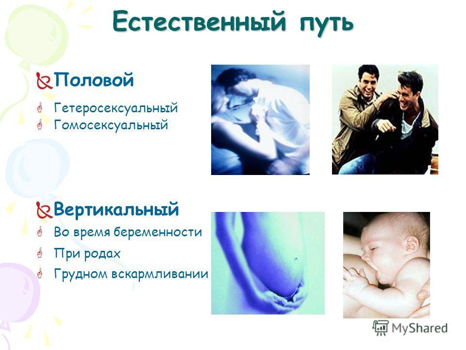Естественный путь Половой Гетеросексуальный Гомосексуальный Вертикальный Во время беременности При родах Грудном вскармливании