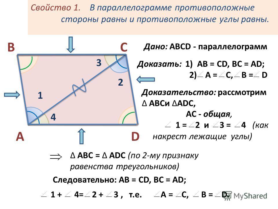 Свойство 1. В параллелограмме противоположные стороны равны и противоположные углы равны. А СВ D 1 2 3 4 Дано: ABCD - параллелограмм Доказать: 1) АВ = СD, BC = AD; 2) A = C, B = D Доказательство: рассмотрим ABCи ADC, AC - общая, 1 = 2 и 3 = 4 (как на
