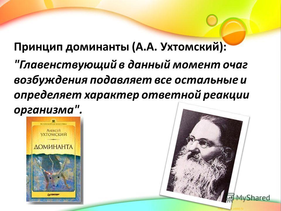 Принцип доминанты (А.А. Ухтомский): Главенствующий в данный момент очаг возбуждения подавляет все остальные и определяет характер ответной реакции организма.