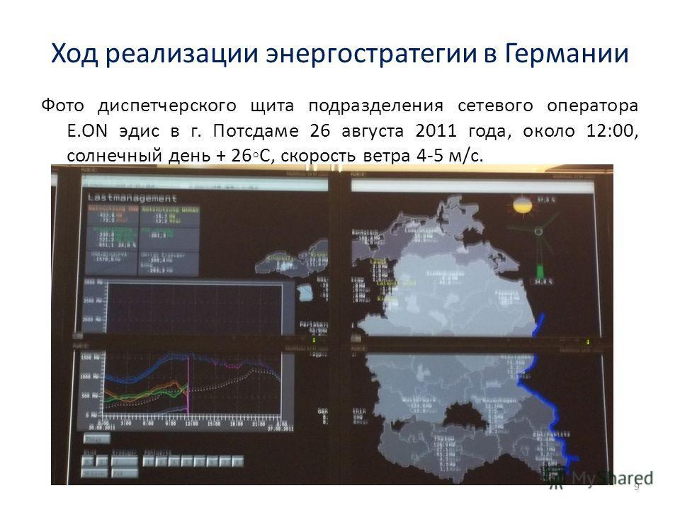 Ход реализации энергостратегии в Германии Фото диспетчерского щита подразделения сетевого оператора Е.ON эдис в г. Потсдаме 26 августа 2011 года, около 12:00, солнечный день + 26С, скорость ветра 4-5 м/с. 9