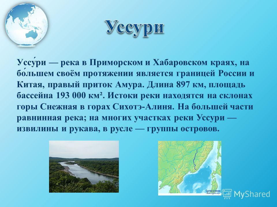 Уссу́ри река в Приморском и Хабаровском краях, на бо́льшем своём протяжении является границей России и Китая, правый приток Амура. Длина 897 км, площадь бассейна 193 000 км². Истоки реки находятся на склонах горы Снежная в горах Сихотэ-Алиня. На боль