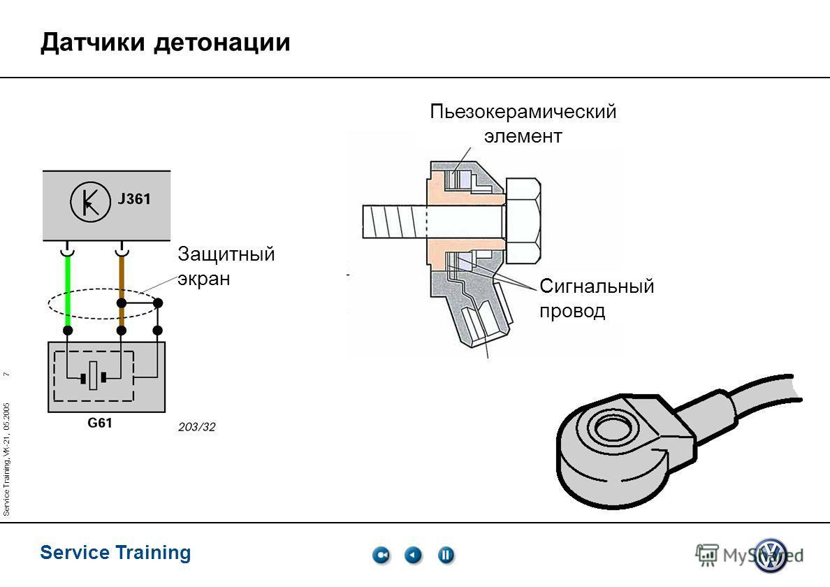 7 Service Training Service Training, VK-21, 05.2005 Датчики детонации Защитный экран Пьезокерамический элемент Сигнальный провод