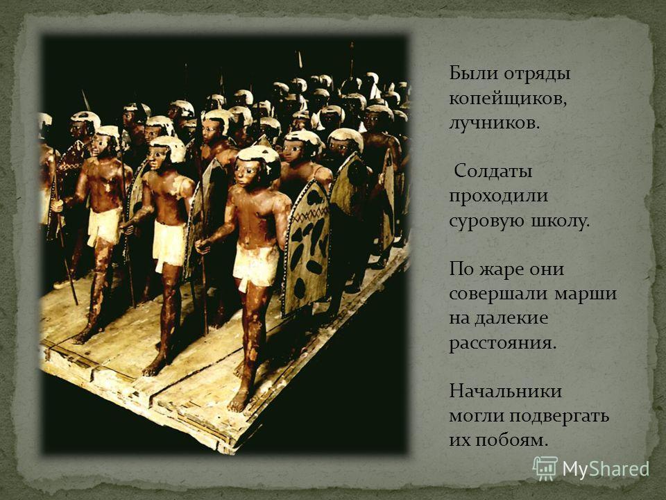 В египетской армии воины-пехотинцы были вооружены копьями, луками и стрелами, дротиками, топорами, булавами. Щиты были деревянными. Тело защищали доспехи из кожаных полос, иногда укрепленных бронзовыми пластинками. Каждый отряд сражался одним или дву
