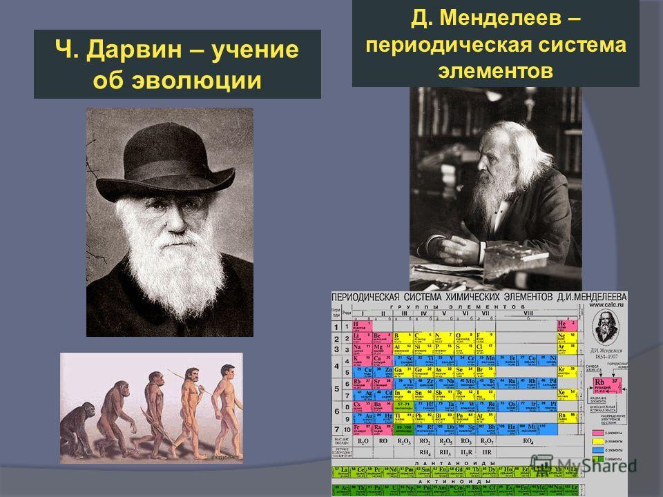 Ч. Дарвин – учение об эволюции Д. Менделеев – периодическая система элементов