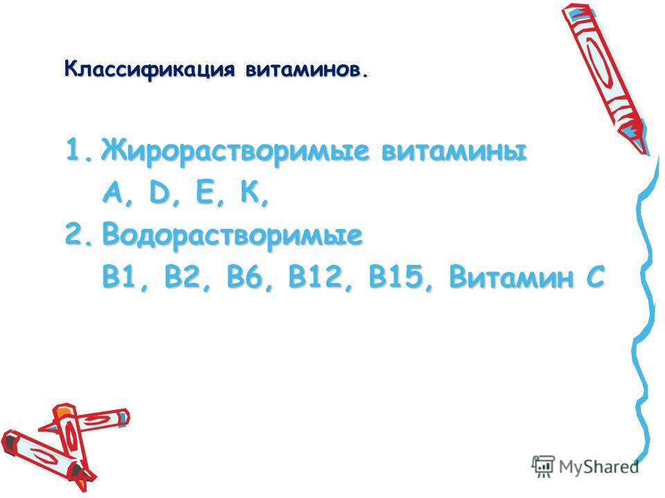Классификация витаминов. 1.Жирорастворимые витамины А, D, Е, К, 2.Водорастворимые В1, В2, В6, В12, В15, Витамин С
