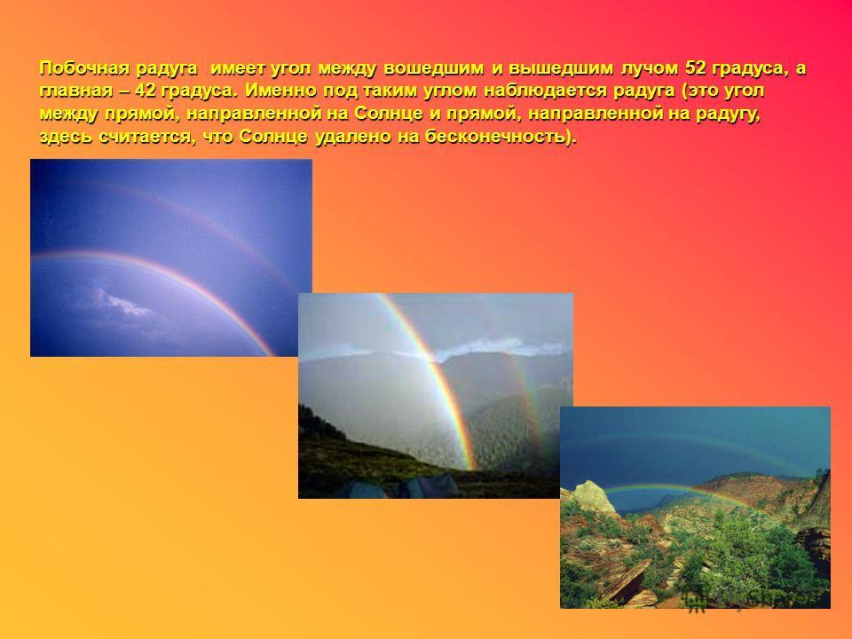 Побочная радуга имеет угол между вошедшим и вышедшим лучом 52 градуса, а главная – 42 градуса. Именно под таким углом наблюдается радуга (это угол между прямой, направленной на Солнце и прямой, направленной на радугу, здесь считается, что Солнце удал