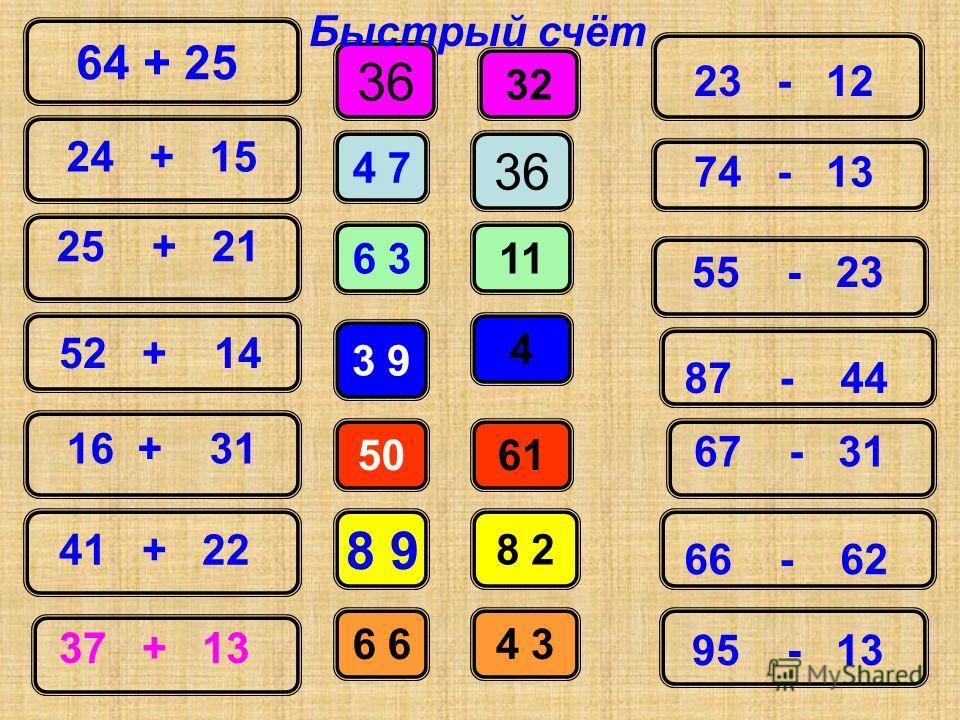 64 + 25 24 + 15 25 + 21 52 + 14 16 + 31 41 + 22 37 + 13 36 11 4 61 8 2 4 3 32 23 - 12 74 - 13 36 4 7 6 3 3 9 50 8 9 6 55 - 23 87 - 44 67 - 31 66 - 62 95 - 13 Быстрый счёт