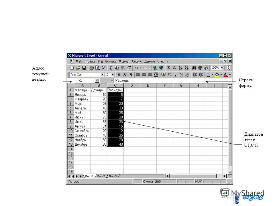 Строка формул Адрес текущей ячейки Диапазон ячеек С1:С13