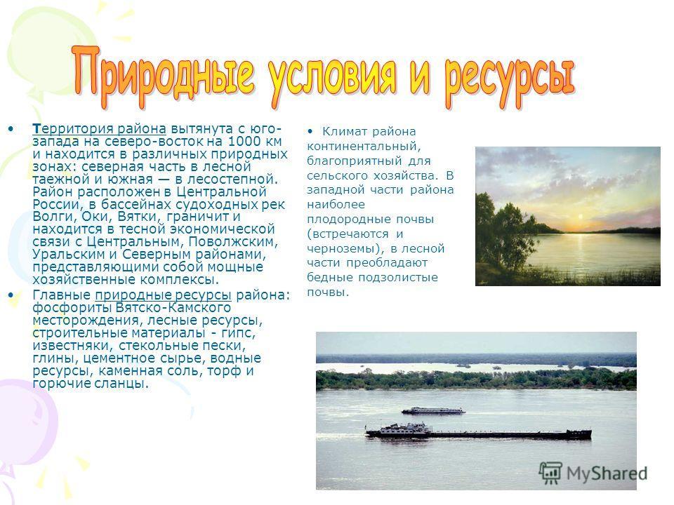 Территория района вытянута с юго- запада на северо-восток на 1000 км и находится в различных природных зонах: северная часть в лесной таежной и южная в лесостепной. Район расположен в Центральной России, в бассейнах судоходных рек Волги, Оки, Вятки,