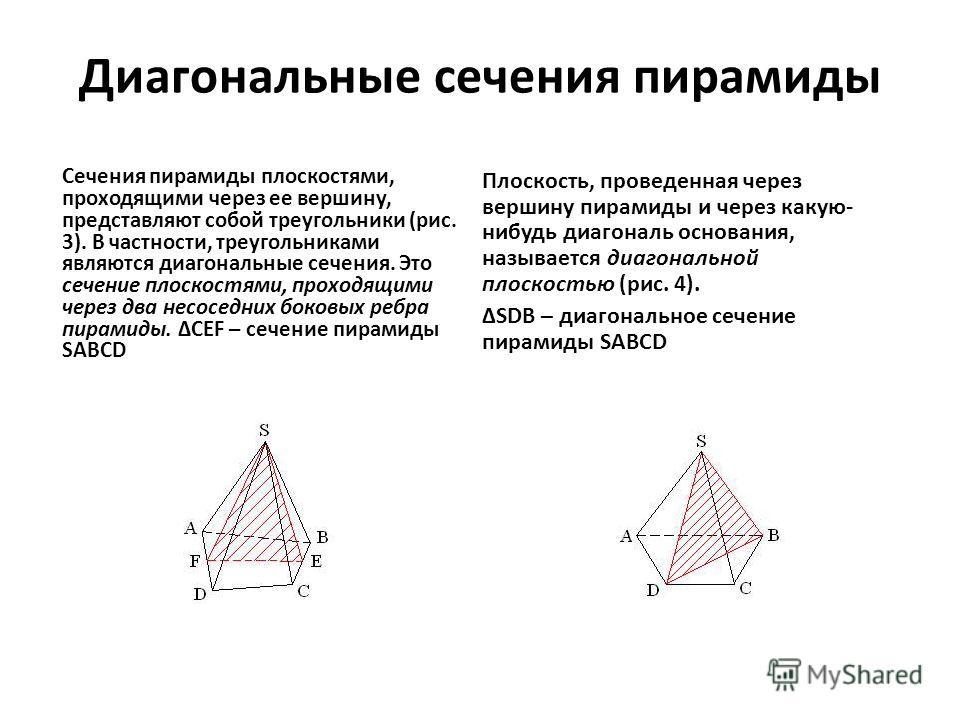 Диагональные сечения пирамиды Сечения пирамиды плоскостями, проходящими через ее вершину, представляют собой треугольники (рис. 3). В частности, треугольниками являются диагональные сечения. Это сечение плоскостями, проходящими через два несоседних б