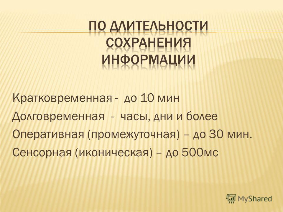 Кратковременная - до 10 мин Долговременная - часы, дни и более Оперативная (промежуточная) – до 30 мин. Сенсорная (иконическая) – до 500мс