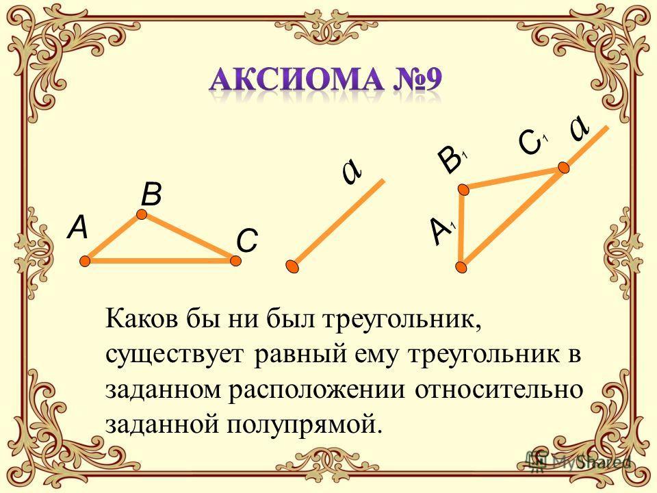 а А В С а А1А1 В1В1 С1С1 Каков бы ни был треугольник, существует равный ему треугольник в заданном расположении относительно заданной полупрямой.