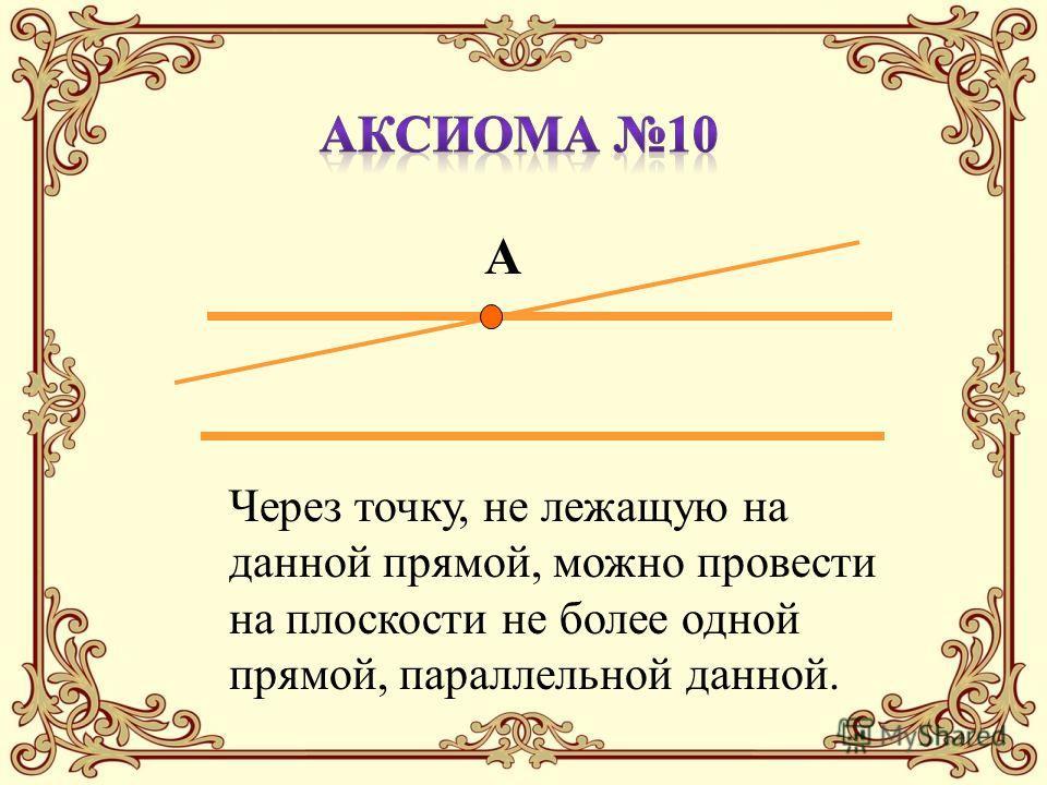 А Через точку, не лежащую на данной прямой, можно провести на плоскости не более одной прямой, параллельной данной.