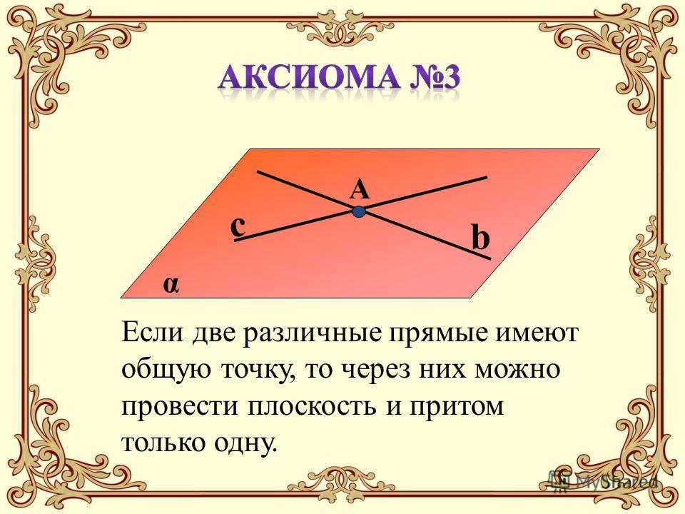 α b c A Если две различные прямые имеют общую точку, то через них можно провести плоскость и притом только одну.