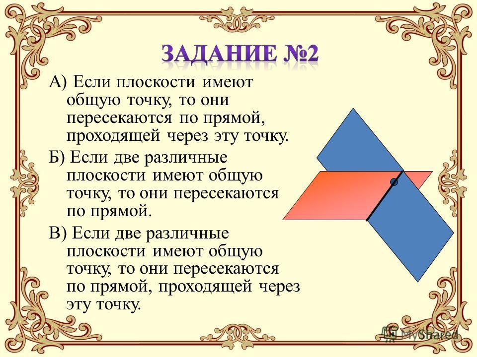 А) Если плоскости имеют общую точку, то они пересекаются по прямой, проходящей через эту точку. Б) Если две различные плоскости имеют общую точку, то они пересекаются по прямой. В) Если две различные плоскости имеют общую точку, то они пересекаются п