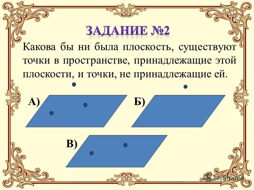 Какова бы ни была плоскость, существуют точки в пространстве, принадлежащие этой плоскости, и точки, не принадлежащие ей. В) Б)А)