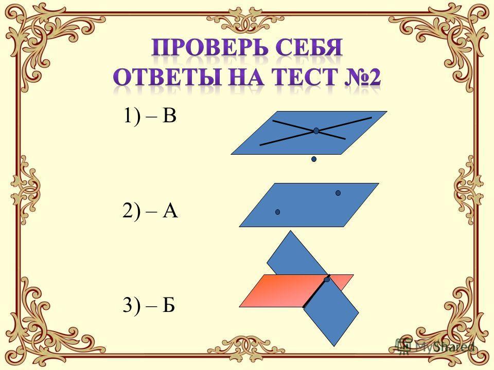 1) – В 2) – А 3) – Б