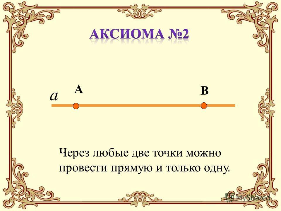 А В Через любые две точки можно провести прямую и только одну. а