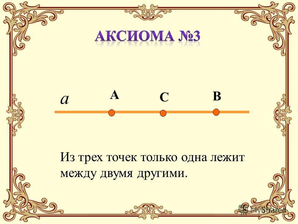 Из трех точек только одна лежит между двумя другими. А В С а