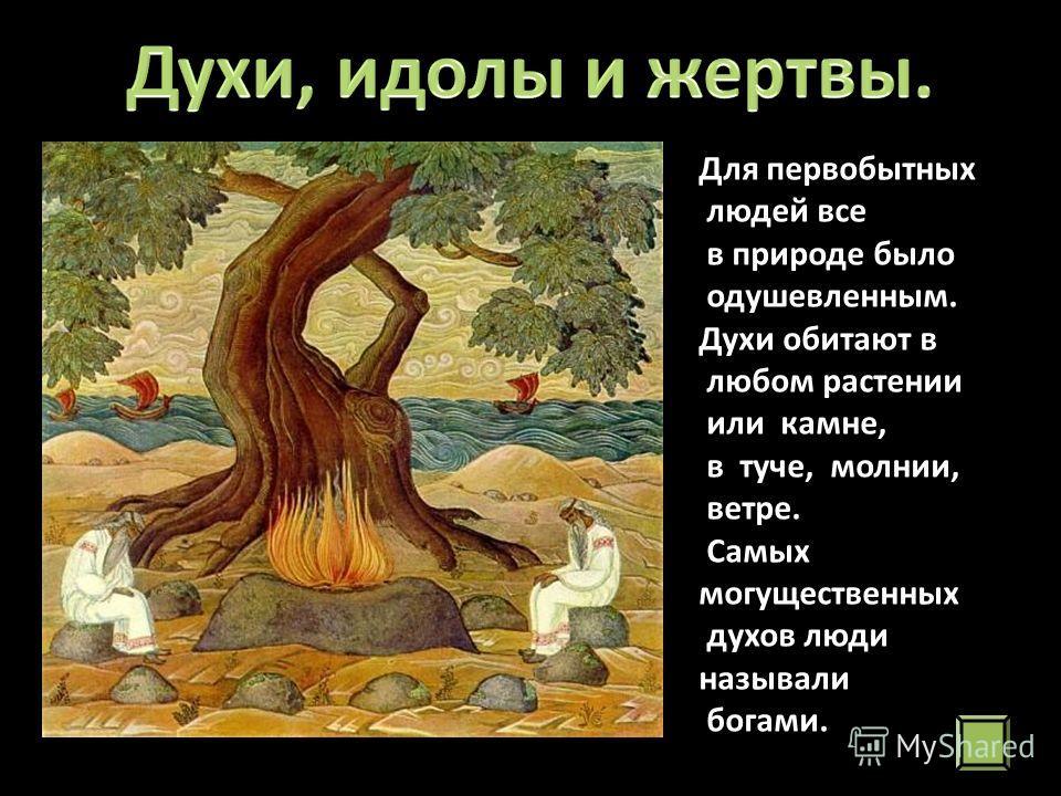 Для первобытных людей все в природе было одушевленным. Духи обитают в любом растении или камне, в туче, молнии, ветре. Самых могущественных духов люди называли богами.