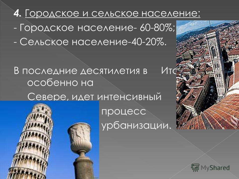 4. Городское и сельское население: - Городское население- 60-80%; - Сельское население-40-20%. В последние десятилетия в Италии, особенно на Севере, идет интенсивный процесс урбанизации.