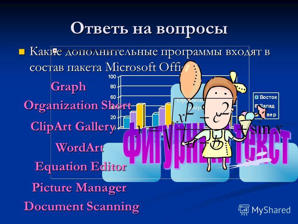 Ответь на вопросы Какие дополнительные программы входят в состав пакета Microsoft Office? Какие дополнительные программы входят в состав пакета Microsoft Office? Document Scanning Организационная диаграммаGraph Organization Short Equation Editor Word