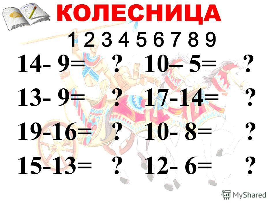 КОЛЕСНИЦА 1 2 3 4 5 6 7 8 9 14- 9= ? 13- 9= ? 19-16= ? 15-13= ? 10– 5= ? 17-14= ? 10- 8= ? 12- 6= ?