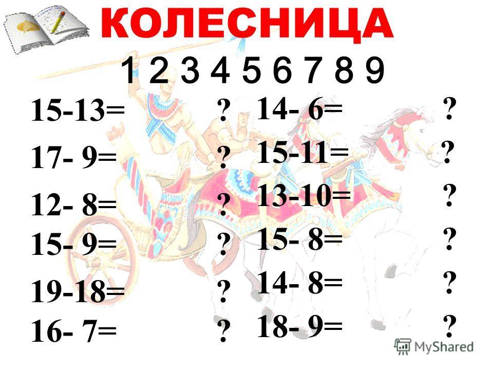КОЛЕСНИЦА 1 2 3 4 5 6 7 8 9 15-13= ? 17- 9= ? 12- 8= ? 15- 9= ? 19-18= ? 16- 7= ? 14- 6= ? 15-11= ? 13-10= ? 15- 8= ? 14- 8= ? 18- 9= ?