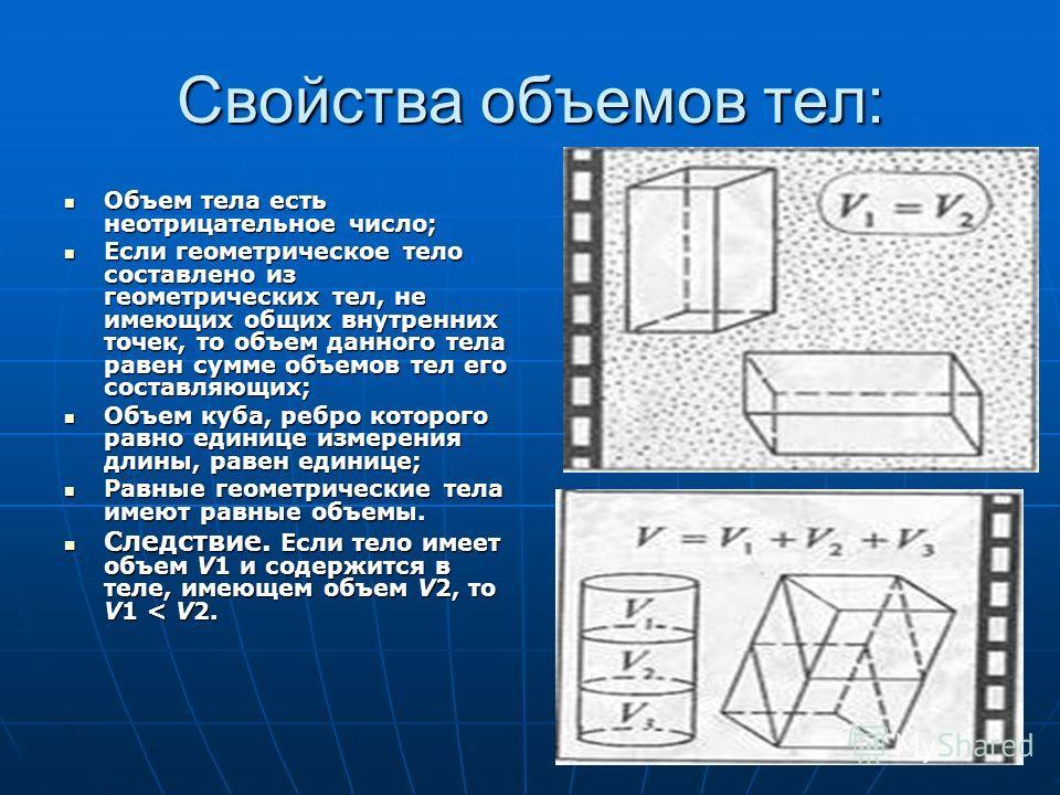 Свойства объемов тел: Объем тела есть неотрицательное число; Объем тела есть неотрицательное число; Если геометрическое тело составлено из геометрических тел, не имеющих общих внутренних точек, то объем данного тела равен сумме объемов тел его состав