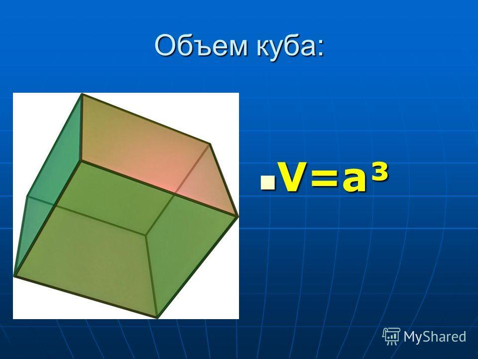 Объем куба: V=a³ V=a³