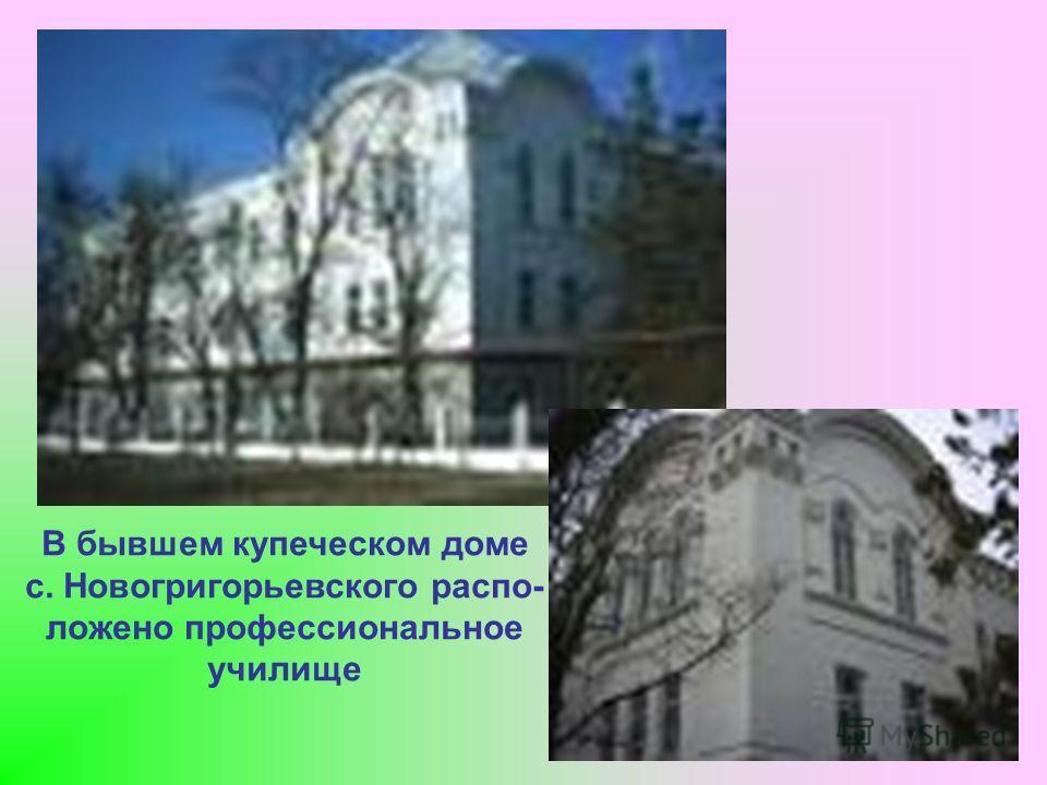 В бывшем купеческом доме с. Новогригорьевского распо- ложено профессиональное училище